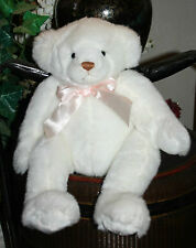 """APPLAUSE Plush Breast CANCER Awareness White Bear Embroidered Pink Bow 15"""" B2"""