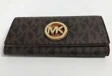 NEW Michael Kors PVC Signature Fulton Flap Continental Wallet Brown