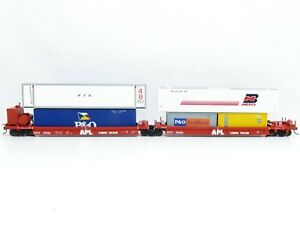 Athearn? Walthers? H0 Containerwagen Doppeleinheit APL Liner Trains + Container