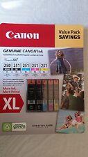 Genuine CANON PGI-250XL Black, CLI-251XL B/C/M/Y Ink Cartridges, 5-Pack
