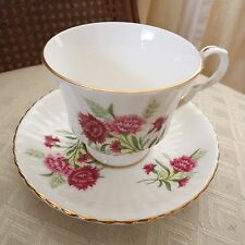 Antique Royal Windsor Fine Bone China Teacup & Saucer, England w pink flowers.
