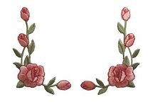 """#3964P Lot 2Pcs 2 1/2""""H Pink Rose Flower Embroidery Iron On Applique Patch/Pair"""