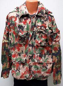 vtg Swiss Army 80s ALPENFLAGE Field Jacket LARGE Hood Pockets 80s switzerland L