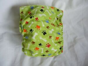 "Dog Puppy Belly Band Wrap Contour Diaper Male Puppy Flannel lined 15"" PAW BONE"