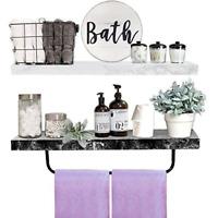 "2Set Floating Shelves Bathroom Wall Mounted Shelf with Towel Bar Kitchen 22""x..."