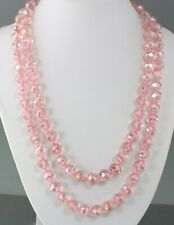 VINTAGE 70'S LONG PINK AURORA BOREALIS AB CRYSTAL GLASS BEAD NECKLACE