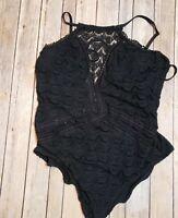 Becca Knit One Piece Womens 3x 22-24 Black Crochet Bathing Suit Lace XXXL