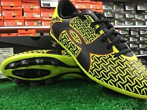 New Under Armour B CF Force 2.0 FG -R Jr Soccer Cleats Yellow / Black Size 2.5y