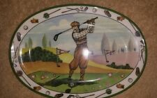 Vintage Decorative oval golfer plate. Made in Italy.