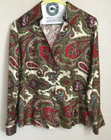 Talbots Blouse Size 10 Women's Pure Silk Button Down Long Sleeve Paisley • EUC