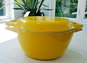 Vintage COPCO D2 Cast Iron Yellow Enamel Dutch Oven Pot & Lid Denmark 2 Quarts