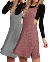 Ladies Rib Knit Pinafore Swing Skater Dress Mini Playsuit Dungarees Flared