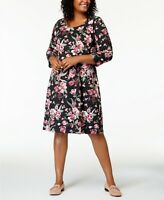 Karen Scott Women's Plus Black Floral Printed 3/4-Sleeve Dress SIZE 0X 1X 2X 3X