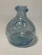 More details for vintage biot bubble art glass vase in blue