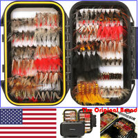 FISHINGSIR 64/100/120PCS Fly Fishing Flies Assortment Dry Wet Nymph Bass & Trout