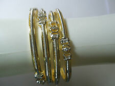 Indian Cz AD  Stone Spiral Silver plated Bracelet Bangle 4pc Women 2.8 SZ Set