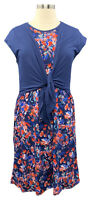 New CUDDL DUDS Size PXL Blue Floral Flexwear Sleeveless Tie-Front Midi Dress