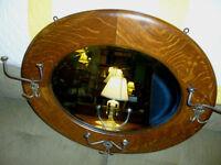 antique OAK mirror wall coat hat tree quartersawn tiger frame refinished