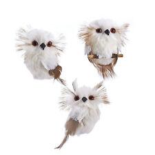 Set/3 Kurt Adler Furry White Plush Owl Woodland Christmas Tree Ornament Decor