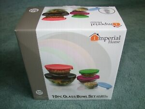 NEW Imperial Home 10pc Glass Bowl Storage Set with Lids