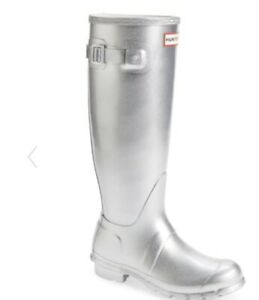 Hunter Silver Cosmic Glitter Galaxy Tall Rubber Rain Boots Size 10 Women's New
