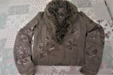 ladies s 12 River Island jacket, embroidered silver & brown ,fur collar, light