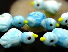 Lampwork Handmade Glass Light Blue Bird Beads 10x20mm
