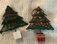 """Set of 6 Green Metal Christmas Tree Napkin Ring Holders by Scotts ~ 4"""" high"""