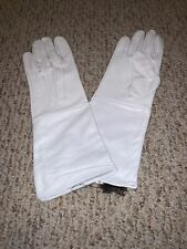White Leather Long Cuff Medieval Large Gloves