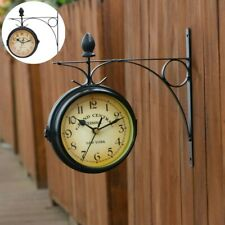 Horloge de Gare Rétro Double Face Pendule Horloges murales Murale Vintage