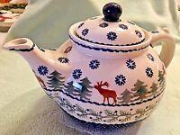 Ceramic Boleslawca Pottery Teapot Handmade in Poland Winter Pine Trees & Moose