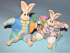 Russ Berrie Kathleen Kelly Easter bunnies #2105 rabbits 2pc set mixed materials