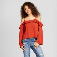 Women's NWT Cold Shoulder Top -  Size S - Bell - Mossimo - Juniors - Rust NEW