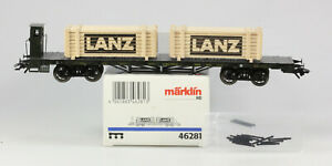 Märklin HO #46281 K.Bay.Sts.B 4 Axle Flatcar with Crates, 2000 only, LN/BX