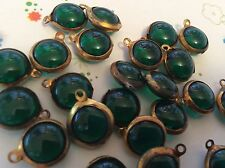 Vintage round set rhinestones 1 loop brass Emerald 12mm x6 CRAFT POST FREE