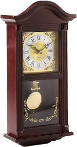 Bedford Clock Collection Small Wood Wall Clock with Brass Pendulum and 4 Chim...