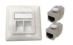 2x RJ45 Keystone Module Jack + 1x UP-K LAN Anschlussdose Netzwerkdose 2-fach