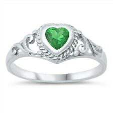 USA Seller Baby Ring Sterling Silver 925 Face Height 7 mm Emerald CZ Size 1