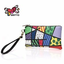 Romero Britto Gemetric Clutch Wristlet Coin Wallet Purse Fits Phone *USA SELLER*