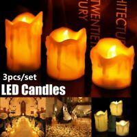 3Pcs Flameless LED Kerzen Echt Wachs Batteriebetrieben Licht Fernbedienung Xmax