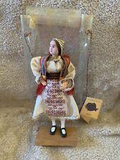 "Vintage 8"" Romania Female Folk Doll  Traditional Dress - Zona Banat Original Box"