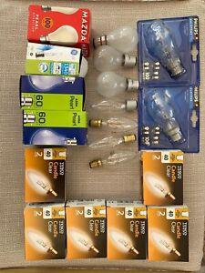 bayonet fitting unused light bulbs, inc 12x40 small candle, 2x100W halotone