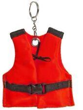 Mini Keyring Neon Orange Life Vest Floating Pool Sea Ocean Boat Key Safe Holder