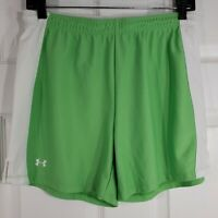 Under Armour Loose Fit Womens Athletic Shorts Small Green & White Elastic Waist