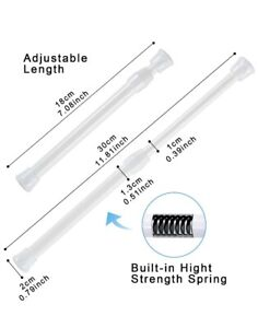 2 Pack Small Spring Tension Curtain Rod White 7-11 Inches - Goodwin - FREE SHIP