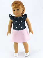 "Denim Heart Dress + Shoes Fits 18"" American Girl Doll Clothes"