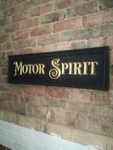 MOTOR SPIRIT sign carved wood gold black period vintage style wood car VAC276