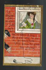 1910 Postcard Cover Halloween Ball of yarn Poem Hatrtford CT
