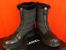 NIB CHANEL BLACK LEATHER NYLON FUR SHEARLING ZIP CC LOGO SHORT WINTER BOOTS 40