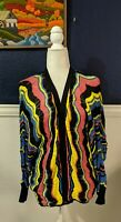 Neiman Marcus Open Front Multi Colored Striped Cardigan Sweater Boho Sz Small S